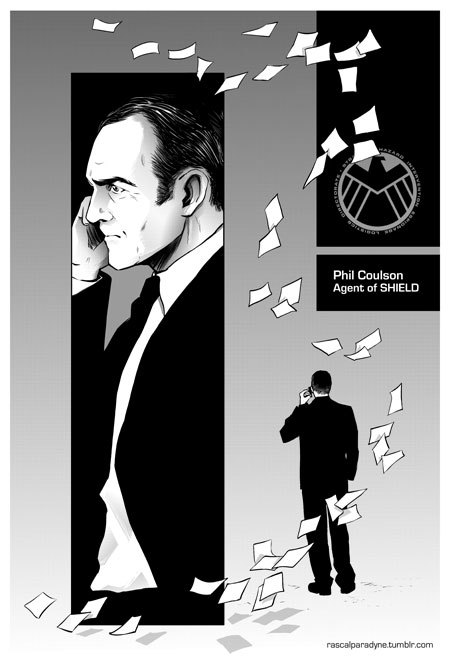 rascalparadyne:  Agent Coulson terrifying face of YO I AM ON THE PHONE GETTING SHIT DONE. WIP from Rascal's upcoming Avengers fanbook based on a really remarkable story called SHIELD has Paperwork for Everything by Scifigrl47.   Why, look.  Someone made the intensely poor choice to try to illustrate my craziness.  I am collecting for the inevitable therapy bills now, but go show the artist some love. Clint/Coulson fans unite!
