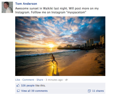 Tom Anderson - The creator of Myspace posting a Facebook status asking to be followed on Instagram. Am I the only one that finds this sad? HE STILL USES THE SAME PROFILE PICTURE.