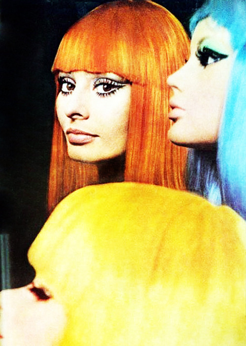 Sophia Loren with colored wigs made for her by Alexandre of Paris. Photo by Tazio Secchiaroli, American Vogue, April 1, 1970