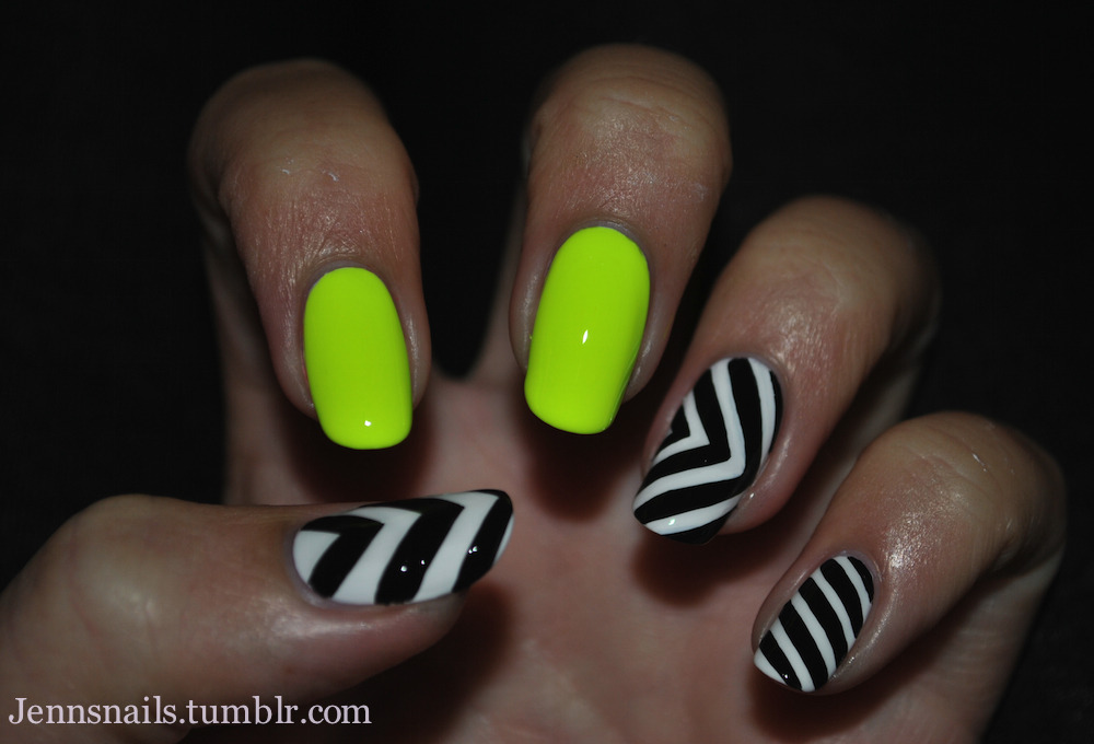 by jennsnails  Neon yellow: Orly- Glowstick