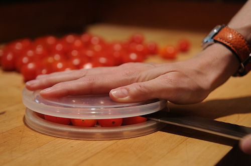 food52:  A Hack for Slicing Cherry Tomatoes (via A Hack for Slicing Cherry Tomatoes - an article from Food52)