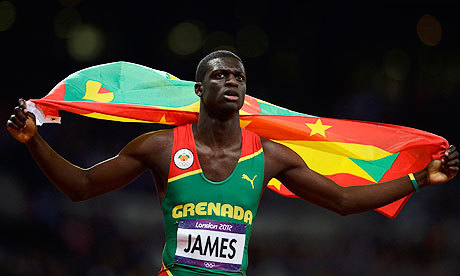 Grenada's Kirani James after winning the Gold in the 400m.