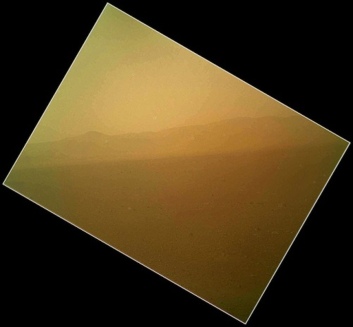 CURIOSITY'S FIRST IMAGE BEAMED HOME.