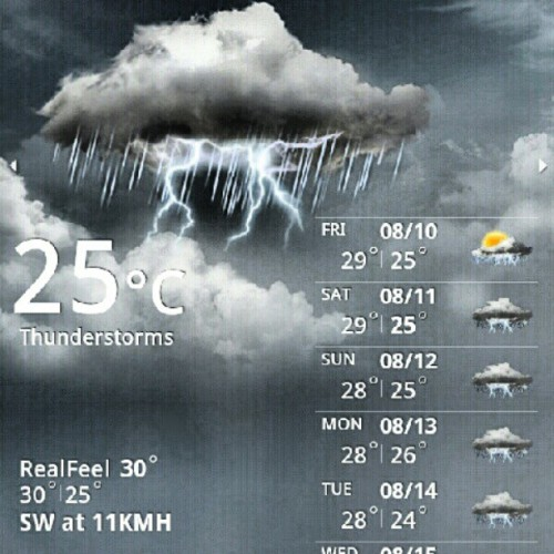 08.08.2012 Thunderstorms. Creepy sounds. Stay safe! ;) #2012 #UST #noclasses #habagat #thunderstorms #weather #news #rain #flood #creepy #photoblog #memories #blog #temperature (Taken with Instagram)