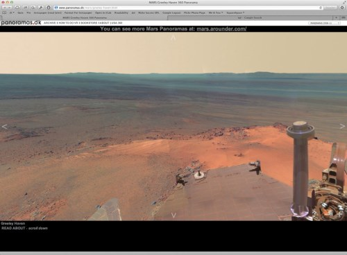 tj:  360º HD panorama from Mars.  You'll have to go to http://www.panoramas.dk/mars/greeley-haven.html to see it in full glory. This dinky little picture doesn't do it justice.  Seriously, it's worth it.