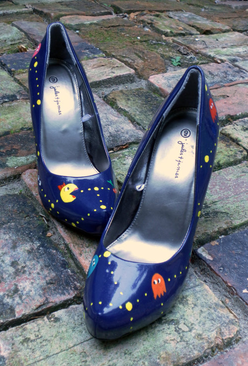 Custom Hand-Painted Ms. Pac-Man Heels Size 9 shoe available at Tilted Shoes.