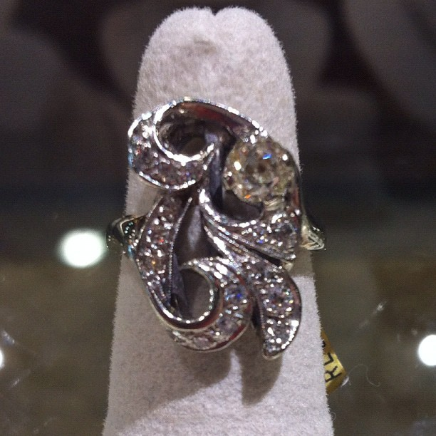 Diamond of the Day: this beautiful old mine European set in a swirling pave mounting #dotd  (Taken with Instagram)