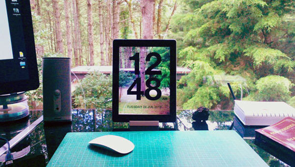 brit:  This super slick clock app lets you see through your iPad or iPhone. Love the simple, clean aesthetic.  Brilliant idea and creates a really unique look.