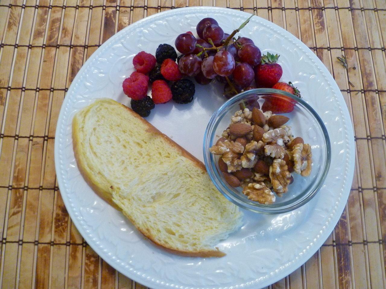 morning meals: challah toast with assorted fruits and hemp granola, walnuts and almonds