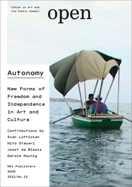 Open 23: AutonomyJust in: the latest issue of Open considers the notion of autonomy in artistic and cultural practices. In response to the call for new forms of involvement and participation, the journal seeks an approach that moves beyond a choice between engagement on the one hand and autonomy on the other.