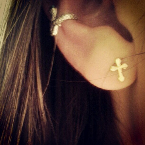 Snake ear cuff. Cross earring.  (Taken with Instagram)