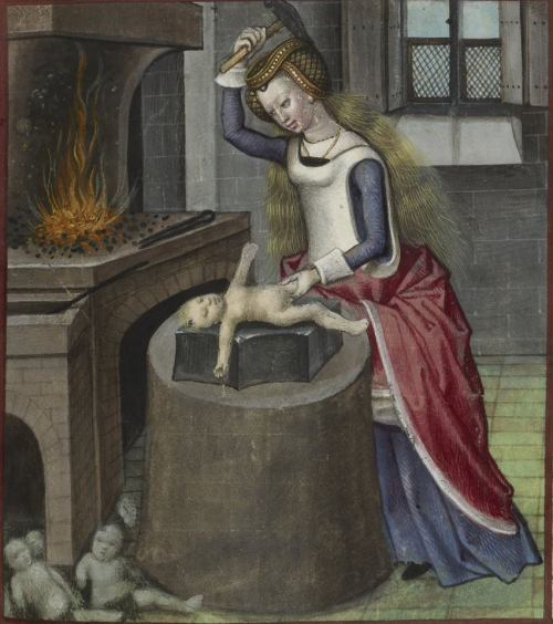 Nature forging a baby, c.1490-c.1500. Guillaume de Lorris and Jean de Meun