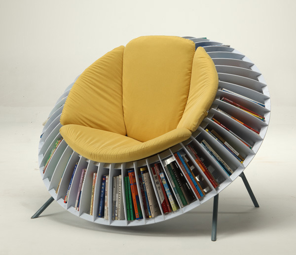 laughingsquid:  Sunflower Chair, An Ingenious Chair With Integrated Bookcase