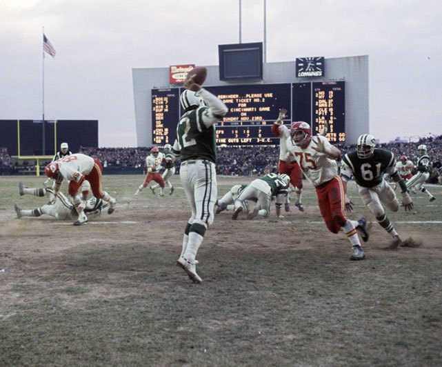 Jets quarterback Joe Namath attempts a pass during a Nov. 1969 game against the Chiefs at Shea Stadium. Kansas City, the eventual Super Bowl champion, would go onto win, 34-16. (Neil Leifer/SI) GALLERY: Rare Photos of Joe Namath