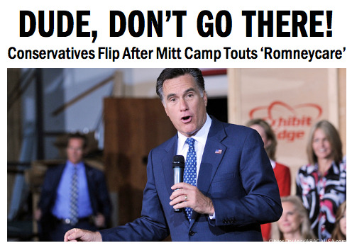 Mitt Romney's campaign is giving conservatives quite a scare this week by touting Romney's Massachusetts health care overhaul—a subject Romney has gone to great lengths to avoid. Read the full article from TPM's Pema Levy here.