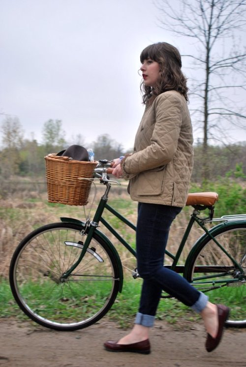 "twirlingclare:  bike riding chic for an ""under the weather"" day"