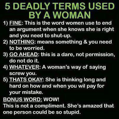 5 Deadly Terms Used By Women. #rookiemommyramblings #funny