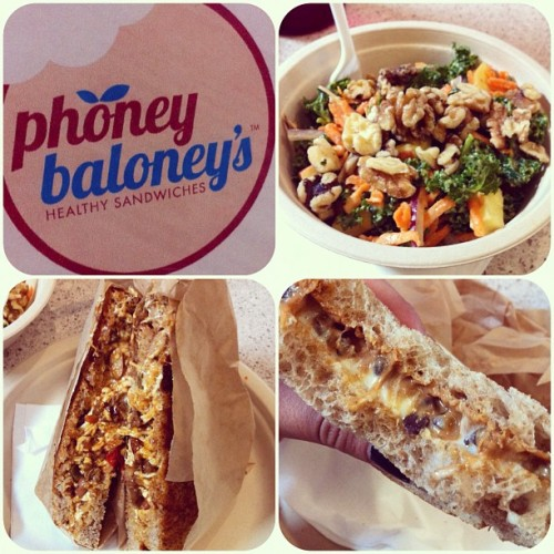 Just had an amazing post-ride lunch with Jason at Phoney Baloney's, I love this place!    I got the Grilled Chili Cheese sandwich with KP's Kale Salad, and shared the grilled fluffernutter sandwich. Can you say delicious? (Taken with Instagram at Phoney Baloney's)