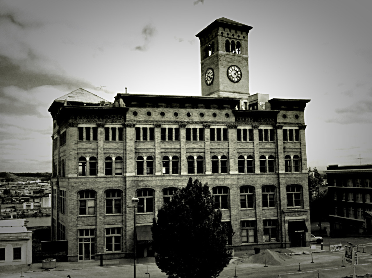 Building With Clock Tower, Tacoma #645Pro #DramaticB&W © 2012 Kent Kangley