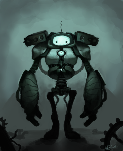 seanoftheundead:  creaturesfromdreams:  Sad Robot by *Poo-Pickle —-x—- More: | Robots | Random |  Don't worry Robot! I love you!