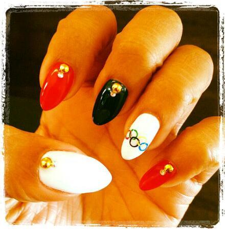 LaLa's Olympic inspired nails. Too dope Instagram @lala