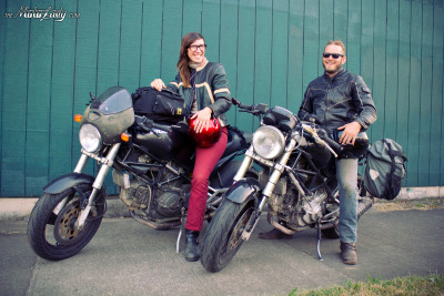 Meet Piper Watson and John Shea! Talk about motorcycles bringing people together… this couple traveled from their hometown of Baltimore, MD a full 5,000 miles and ended up here in Portland! Their trip isn't over, but they stopped by my work to see the shop (and me!) and we just had to go get dinner.  More photos of Piper will soon follow. You can follow their journey on the-between.net!