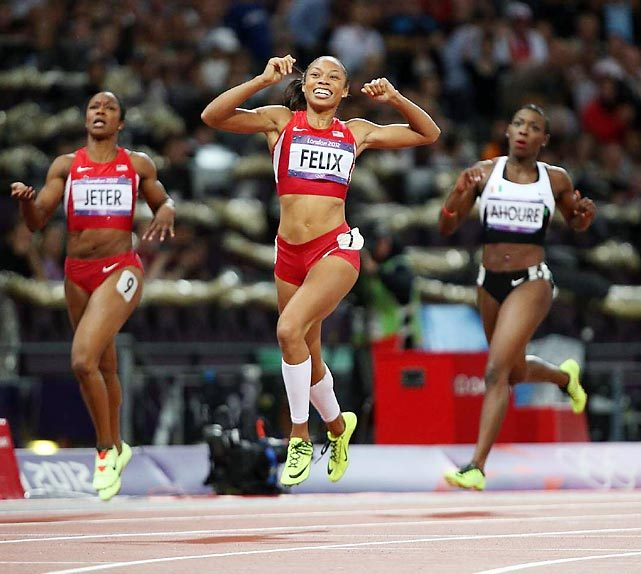 Allyson Felix pulls away from silver medalist Shelly-Ann Fraser-Pryce and bronze medalist Carmelita Jeter to win her first individual Olympic gold with a time of 21.88 in the 200-meter final. GALLERY: London 2012 Olympics Games Day 12 | Day 11 | Day 10 | Day 9 | Day 8 | Day 7 ZACCARDI: Felix finally wins her gold medal