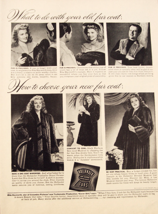 Rita Hayworth advertising furs, c. 1940's. 4/30 ads.