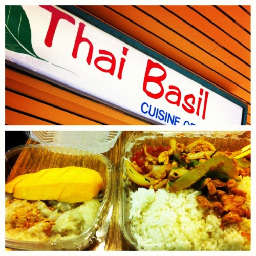 Thai basil!! On point spicy basil chicken and mango with sticky rice #picstitch #thai #food #foodporn #basilchicken #Berkeley #thaibasil (Taken with Instagram)