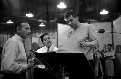 From right, Leonard Bernstein, producer Teo Macero (Bitches Brew), and Goddard Lieberson at a session for On the Town.  (photo: Don Hunstein)