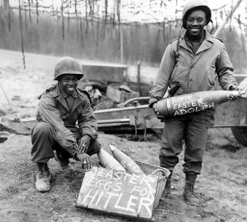 collective-history:  Easter morning March 10, 1945, William E. Thomas and Joseph Jackson will lay specially prepared eggs on Hitler's lawn  National Archives