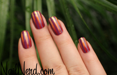Sunrise sponged manicure with purple vertical stripes and China Glaze polishes