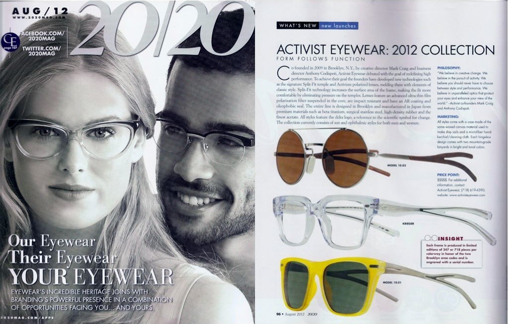 Activist Eyewear in the August 2012 Edition of 20/20 Magazine. Check it out!