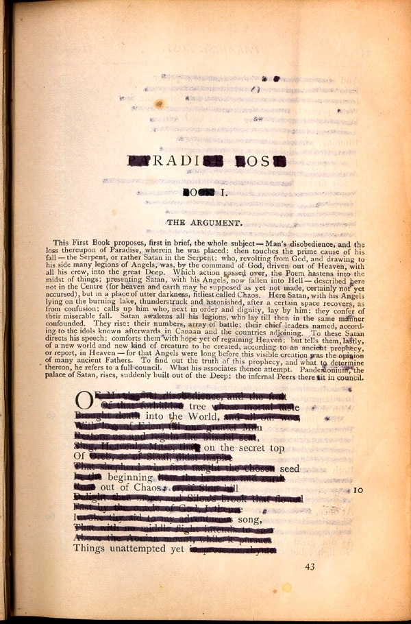 myimaginarybrooklyn:  Ronald Johnson's copy of The Poetical Works of John Milton, 1892, which he used to create his Radi os.