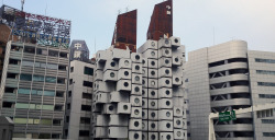 Nakagin Capsule Tower, one year after it was supposed to be demolished.