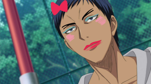 I gave precious Aomine a makeover for reasons I don't remember.  GoM makeovers the complete series: http://eeenoneu.tumblr.com/post/29011005461/rilakkun-eeenoneu-rilakkun-replied-to NO ONE CAN ESCAPE
