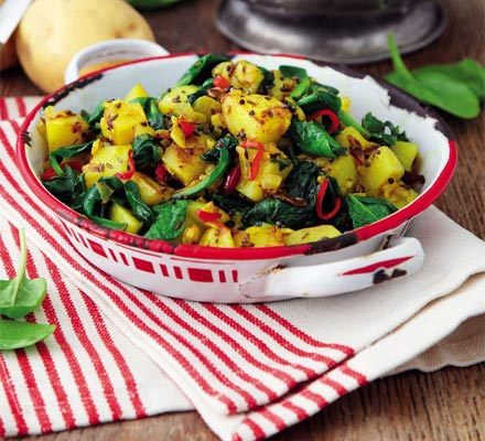 Sag aloo Recipe by Sara Buenfeld, bbcgoodfood.com Nutri­tious spinach makes the base for this tra­di­tion­al, healthy Indi­an side dish, com­bined with pota­to and spicesDifficulty and servingsSERVES 4 as a side dishPreparation and cooking timesPrep 10 minsCook 15…