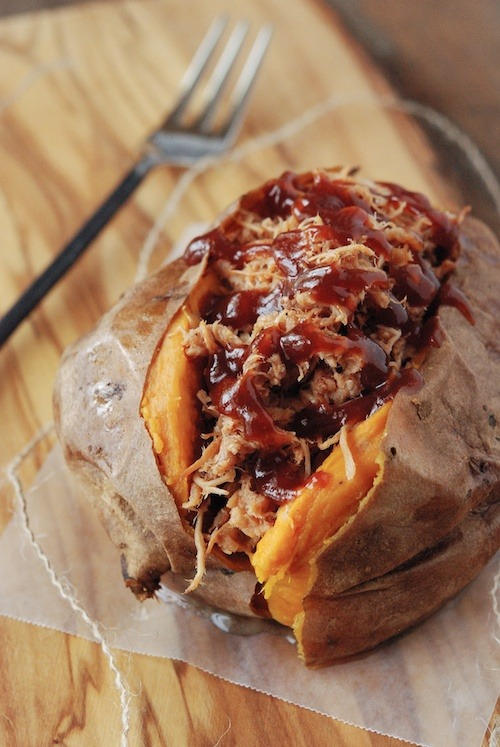 Pulled Pork Stuffed Sweet Potato http://www.thenovicechefblog.com/2012/08/pulled-pork-stuffed-sweet-potato/