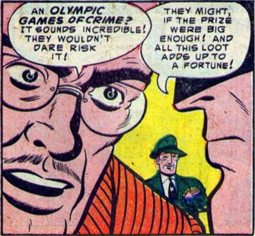 "(via Bully Says: Comics Oughta Be Fun!)  Panel from ""The Olympic Games of Crime!"" in Batman #82 (March 1954), script by Bill Finger, pencils and inks by Dick Sprang, letters by Pat Gordon"