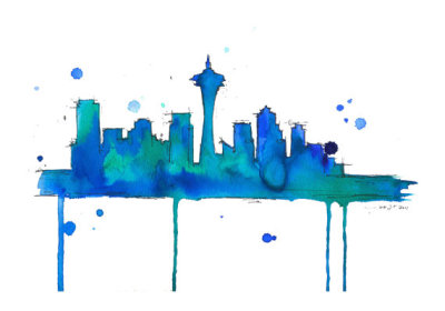 Seattle Watercolor on Etsy