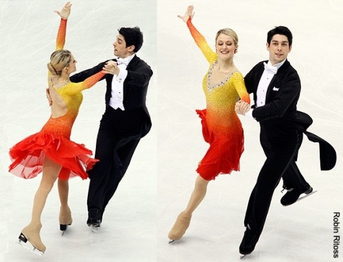Kimberly Navarro and Brent Bommentre performing the Golden Waltz compulsory dance at the 2010 World Championships. Colourful, shiny, but very elegant costumes. I approve. Source: photography.ice-dance.com/2009-2010-season/2010WorldChampionships/Dance/CD/page/2/