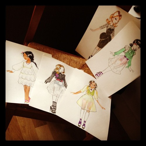 jdavidmckenney:  Designing doll dresses! (Taken with Instagram)