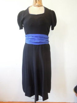 etsy find: Vintage 1940s black crepe, rayon dress with cobalt blue belt, WW2 era shop:commissar
