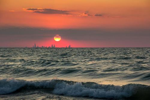Chicago skyline from a beach in Indiana.