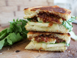 Bacon jam, rocket and pear grilled cheese.