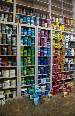 Rainbow colored ink line the walls at Danger Press. Check out our blog to read about these cool screen-printers!