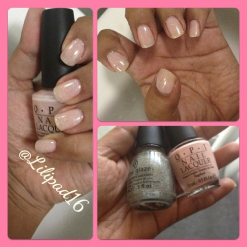 Haven't done a nude color in a while!.. I'm loving #opi Bubble Bath and #chinaglaze Fairy Dust #nails #nailfun #notd #nailpolish #nailartclub #naillacquer #nailartheaven #nailartaddicts #nailpolishjunkie #barbiefingers #igers #igdaily #igaddict #instalove #iphonesia #instagramers #jj #jj_forum 💅  (Taken with Instagram)