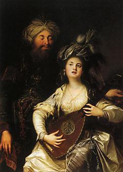 collective-history:  Roxelana and the Sultan. The legendary love between the two inspired European imagination, such as this painting by the German baroque painter Anton Hickel (1780)