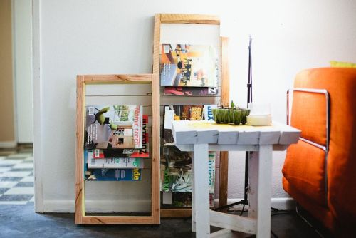 DIY magazine rack via A Beautiful Mess