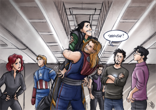 rennyskywalker:  Thor hugging Loki!! Brotherly love for the win :D yes, I know it doesn't make sense that the rest of the group is there, but I wanted to draw them so bad! C: Please click on the pic or the link for full view on DeviantArt! :D http://renny08.deviantart.com/art/The-Avengers-The-Brothers-Hug-319947574